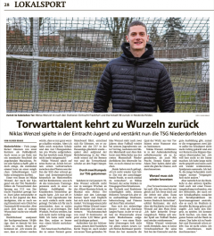+++ Artikel über unseren Neuzugang Niklas Wenzel im Hanauer Anzeiger +++